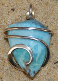 Larimar Cabochon in Sterling Silver Tension Wrapped Pendant