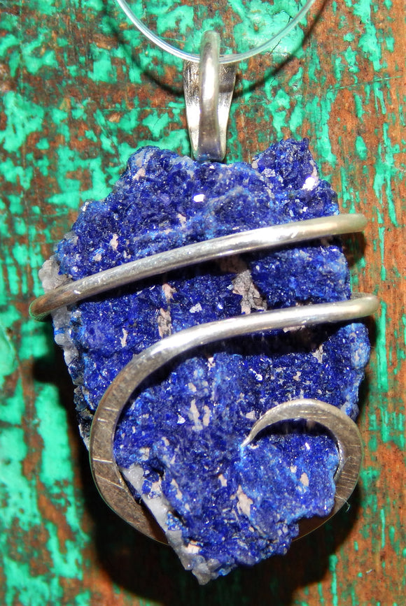 Azurite Druzy in Sterling Silver Tension Wrapped Pendant