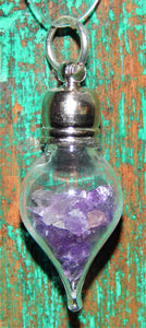February Birthstone Amethyst Glass Vial Pendant