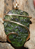 Moldavite in 14kt Gold Tension Wrapped Pendant