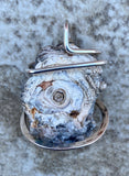 Titanium Infused Druzy in Sterling Silver Tension Wrapped Pendant