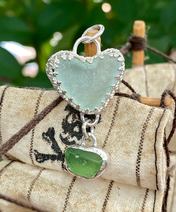 Lake Erie Beach Glass Heart Pendant