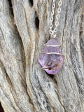 Amethyst Crystal in Sterling Silver Tension Wrapped Pendant