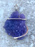 Grape Agate in Sterling Silver Tension Wrapped Pendant