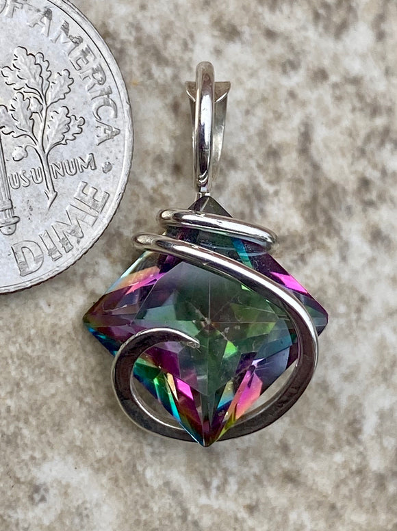 Titanium Infused Faceted Topaz in Sterling Silver Tension Wrapped Pendant