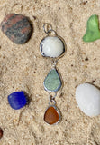 Lake Erie Beach Glass Pendant with Lucky Stone
