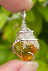 Citrine Crystal in Sterling Silver Tension Wrapped Pendant