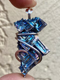 Bismuth Crystal in Sterling Silver Tension Wrapped Pendant