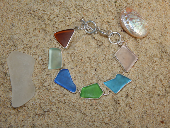Maine Sea Glass Bracelet in Sterling Silver