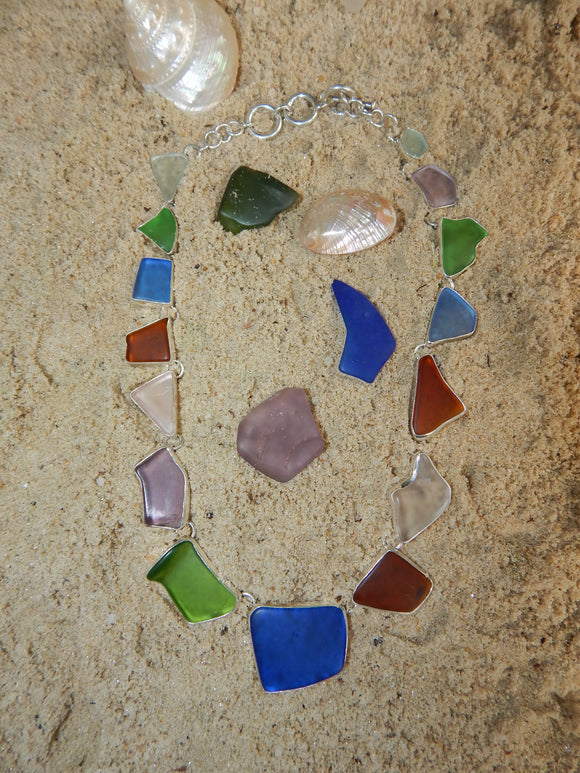Maine Sea Glass Necklace in Sterling Silver