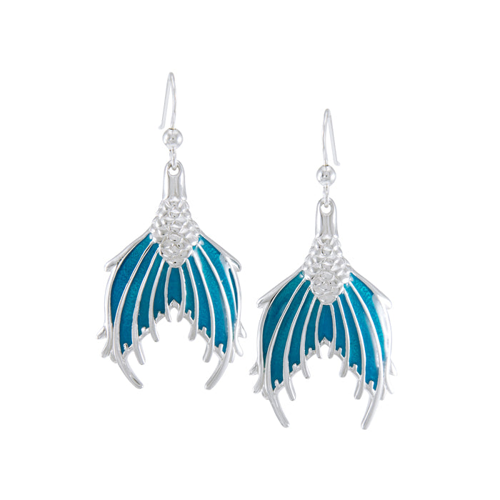 Earrings: Mermaid Tail with Enamel