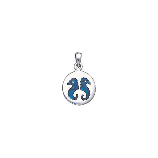 Pendant: Double Inlaid Seahorses