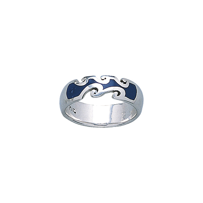 Ring: Inlaid Ocean Waves