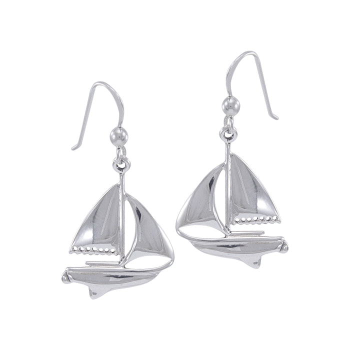 Earrings: Sailboat Sterling Silver Hook