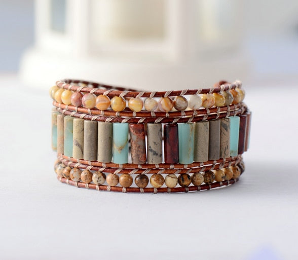 Bracelet: Natural 3 Layers Leather Wrap