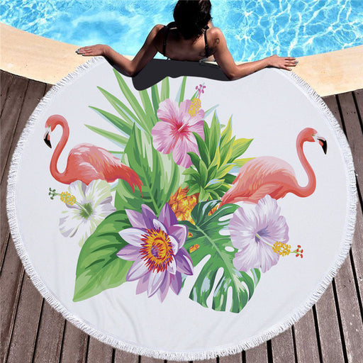 Towel: Flamingos & Big Flowers
