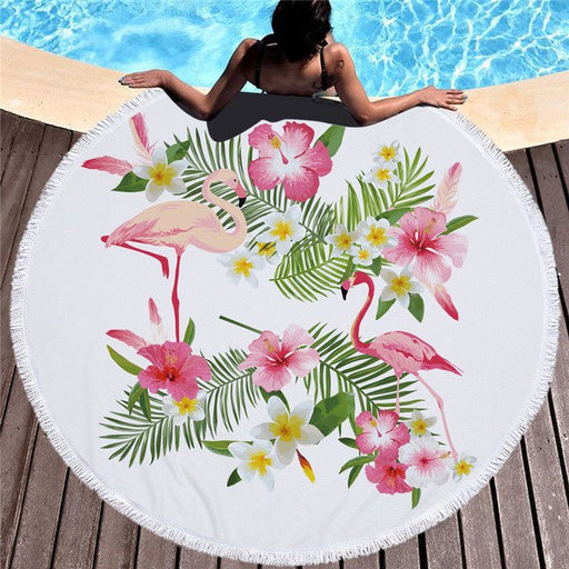 Towel: Flamingos & Pink Flowers
