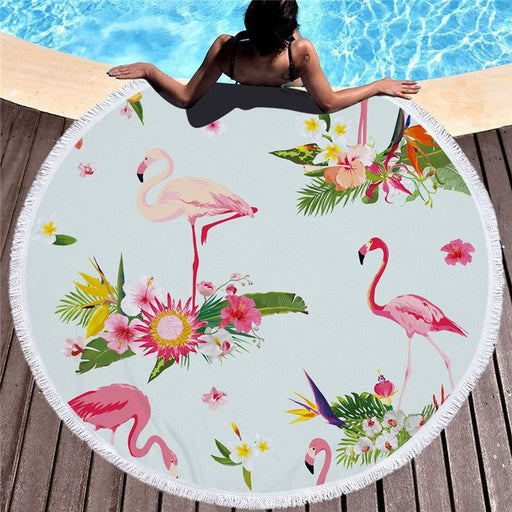 Towel: Flamingos & Pretty Flowers