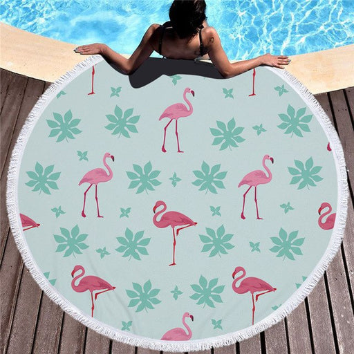 Towel: Flamingos & Leaves