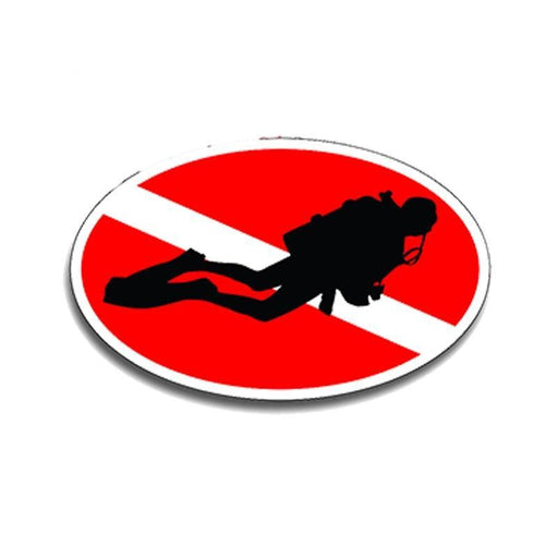 Sticker: Oval Scuba Diver