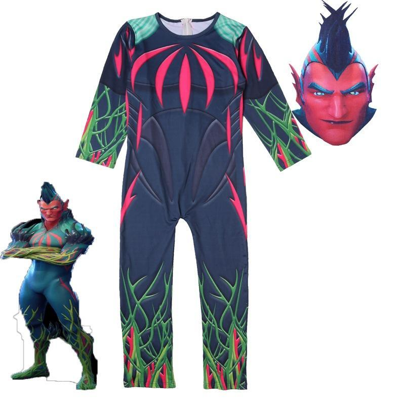 Fortnite Kid's Cosplay Flytrap Costume Tree Man Jumpsuit For Helloween - bfjcosplayer