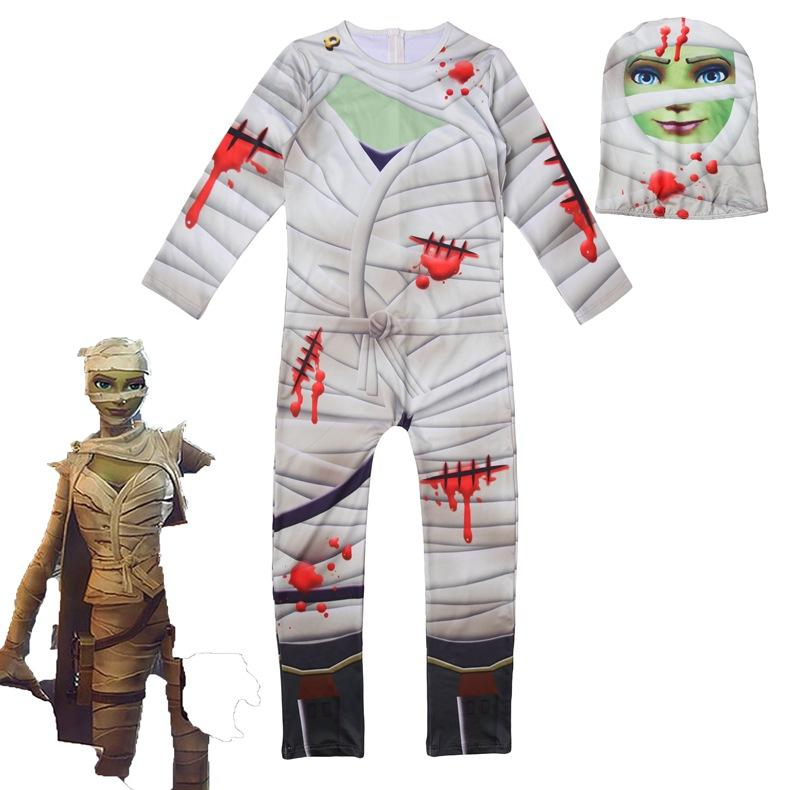 Fortnite Kids The Mummy Gunner Cosplay Jumpsuit For Halloween - bfjcosplayer