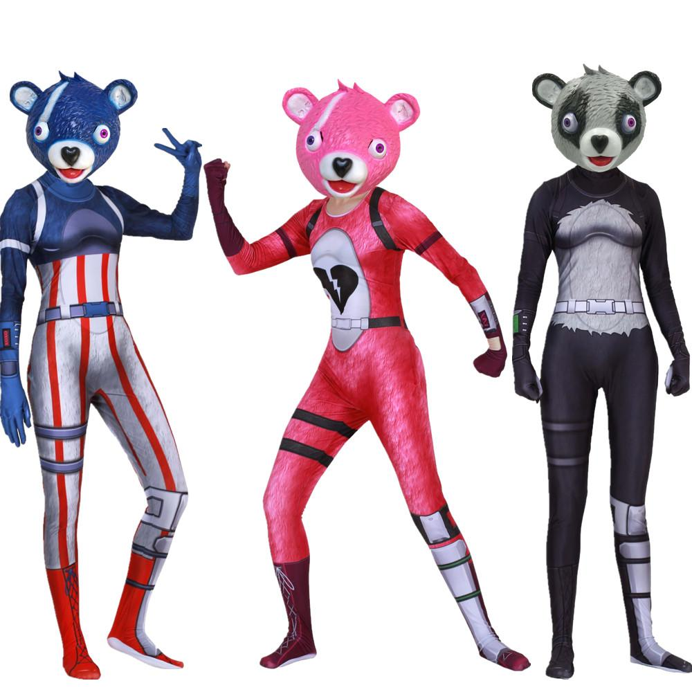 Fortnite Costume Cosplay Cuddle Team Panda Woman & Man Jumpsuit + Mask Halloween - bfjcosplayer