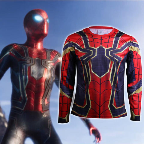Avengers Infinity War T-Shirts Cosplay Iron Spiderman 3D Sports T-Shirt Long Sleeve Halloween Party - bfjcosplayer