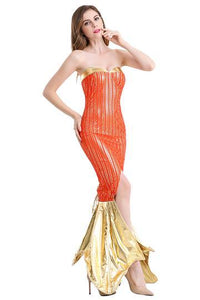FBJFY Women Ladies Sexy Mermaid Cosplay Halloween Cosplay Costume Sequin Fish Tail Split Dress - bfjcosplayer