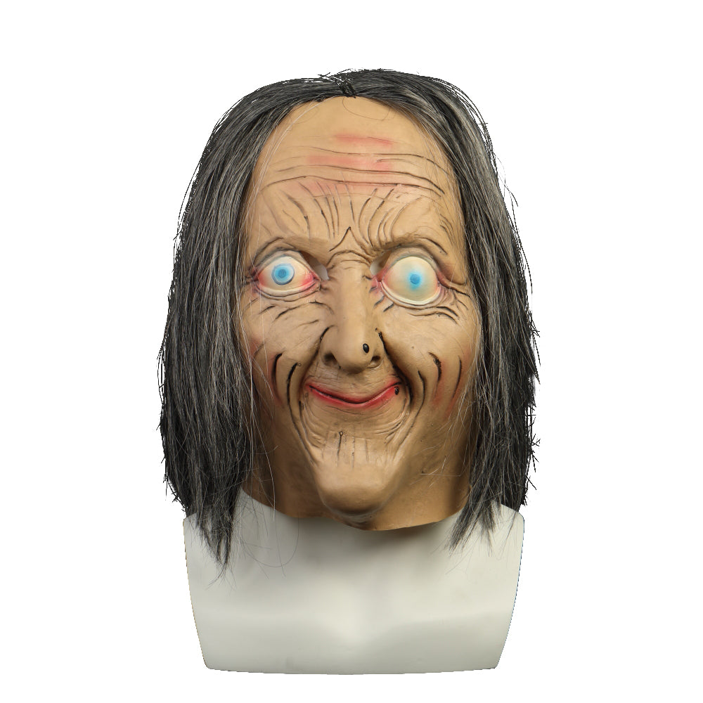 Cosermart Latex Mask Scary Horror Adult Masks Dressed Zombie Devil Halloween Party Prop Masquerade Cosplay Old Woman - bfjcosplayer