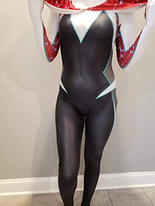 CosplayLife Gwen Stacy Cosplay Costume Into the Spider-verse Ghost Gwen Bodysuit Lycra Suit - bfjcosplayer