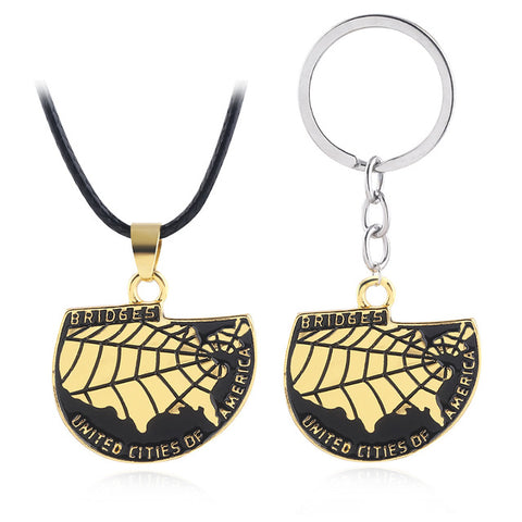 Death Stranding USA Map Keychain Game Cosplay Necklace Props