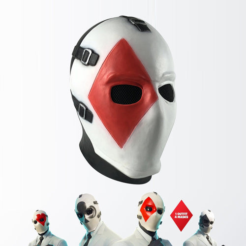 Fortnite Poker Heart Spade Club Diamond Cosplay Latex Helmet Halloween Party Props - bfjcosplayer