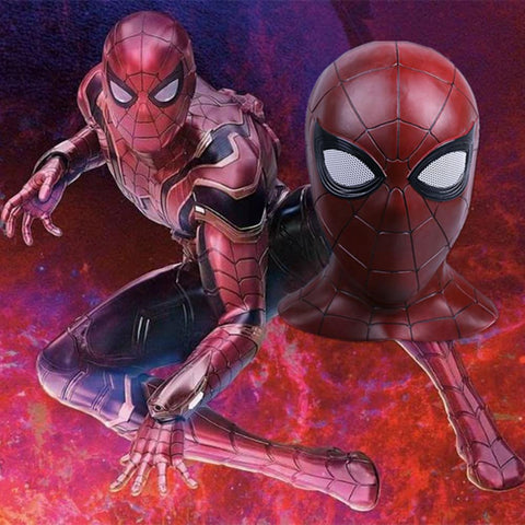 Avengers:Infinity War Cosplay Iron Spiderman Latex Full Head Breathe Mask For Cosplay Helloween Party - bfjcosplayer