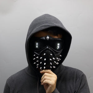 Game Watch Dogs 2 Mask Marcus LED Light Mask 25 Emoji Changeable Holloway Wrench Cosplay Punk Gothic Rivet Face Mask Halloween - bfjcosplayer
