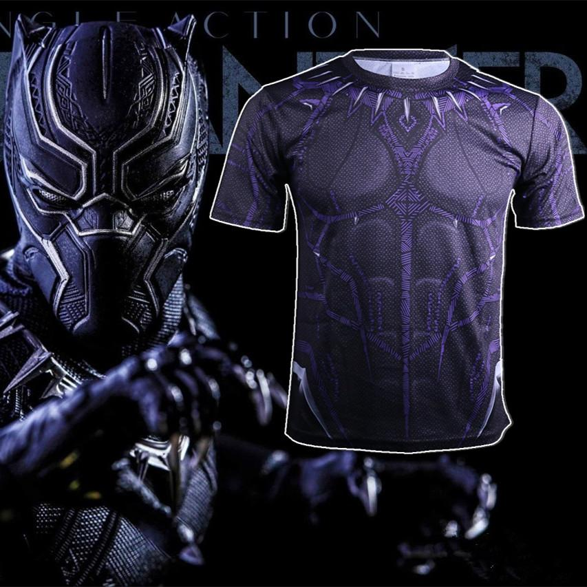 2018 Avengers: Infinity War Cosplay New Black Panther T-Shirt  Uniform 3D Sports T-Shirt Halloween Party - bfjcosplayer