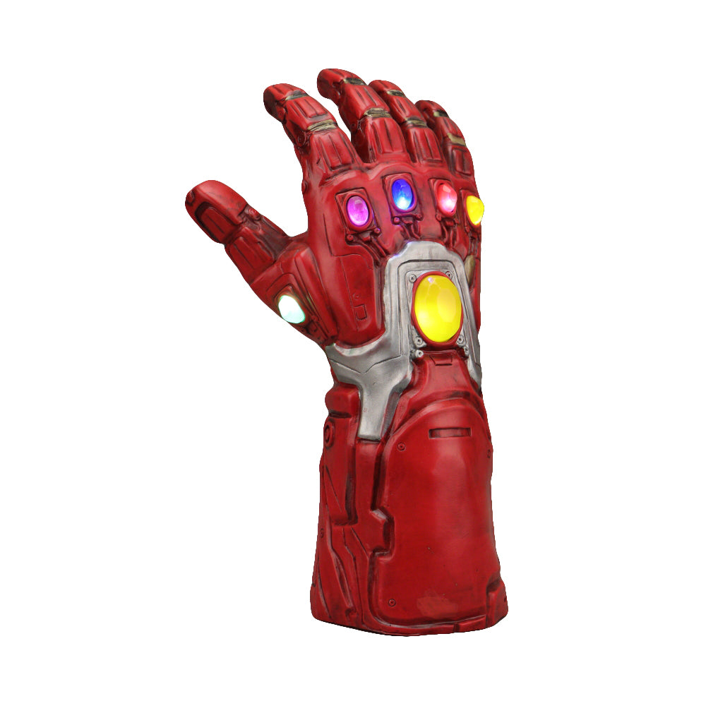 2019 Avengers 4 Endgame Iron Man Infinity Gauntlet Cosplay Arm Thanos Red Latex Gloves Led Light Superhero Gloves - bfjcosplayer