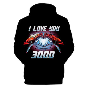 2019 new Avengers 4 :endgame I love you 3000 Iron Man loves you three thousand times hooded sweater - bfjcosplayer