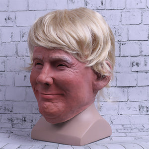 President Trump Latex Helmet Blond Hair Halloween Cosplay Props - bfjcosplayer