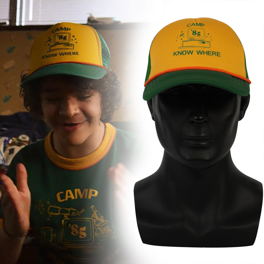 25a1d429f9ee4 2019 Strange Things Dustin Hat Retro Mesh Trucker Cap Yellow Green 85 Know  Where Adjustable Cap