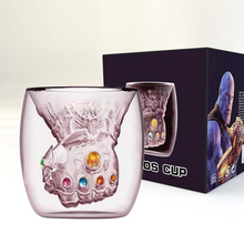 Load image into Gallery viewer, Avengers 4 Endgame Thanos Glove MugSakura Pink Double Wall Glass Mug Tea Coffee Cup Drink Glass - bfjcosplayer
