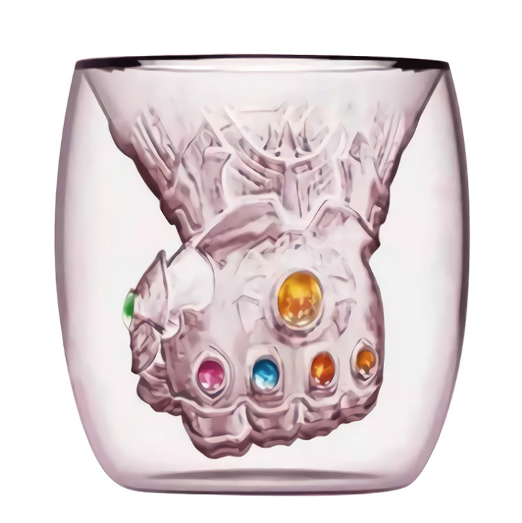 Avengers 4 Endgame Thanos Glove MugSakura Pink Double Wall Glass Mug Tea Coffee Cup Drink Glass - bfjcosplayer