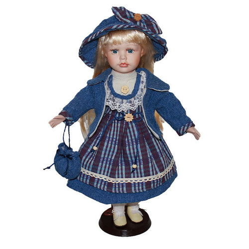 Blue Christmas Costumes Big skirt doll Europe Ornaments  Figure Model Doll Toys Child Gift Cute Princess