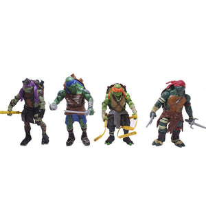 A set of 4 dolls Turtles Ornaments  Figure Model Doll Toys Child Gift Cute Teenage Mutant Ninja