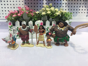 Moana Ornaments  Figure Model Doll Toys Child Gift Cute Disney Princess A set of 5 dolls.