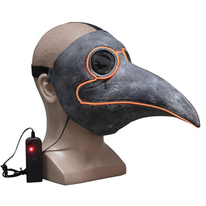 Steampunk Plague Bird Doctor Cosplay Mask Plague doctor Masks Latex LED Funny Event Holiday Halloween Party Costume Props - bfjcosplayer