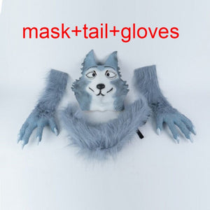 Anime BEASTARS Legoshi The Wolf Costumes Face Mask Gloves Tail Cosplay Animal Wolf Masks Masquerade Costume Props - bfjcosplayer
