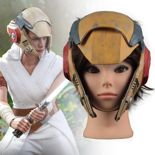 Star Wars 9 The Rise of Skywalker Rey Helmet Cosplay Mask Masquerade Props Latex Masks - bfjcosplayer