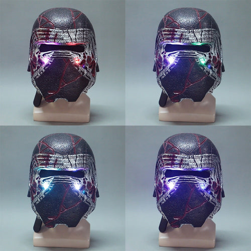 Kylo Ren Helmet Led Light Cosplay Star Wars 9 The Rise of Skywalker Latex Mask Helmets Masks Halloween Party Prop - bfjcosplayer