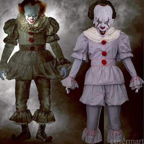 Pennywise Cosplay Costume Stephen King's Mask Men Costume Pennywise Mask Clown Costume Halloween Terror Costume Masquerade